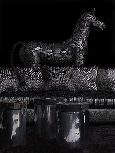 Horse sculpture made from motorcycle parts.