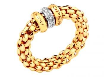 Pierścionek z żółtego i białego złota z brylantami