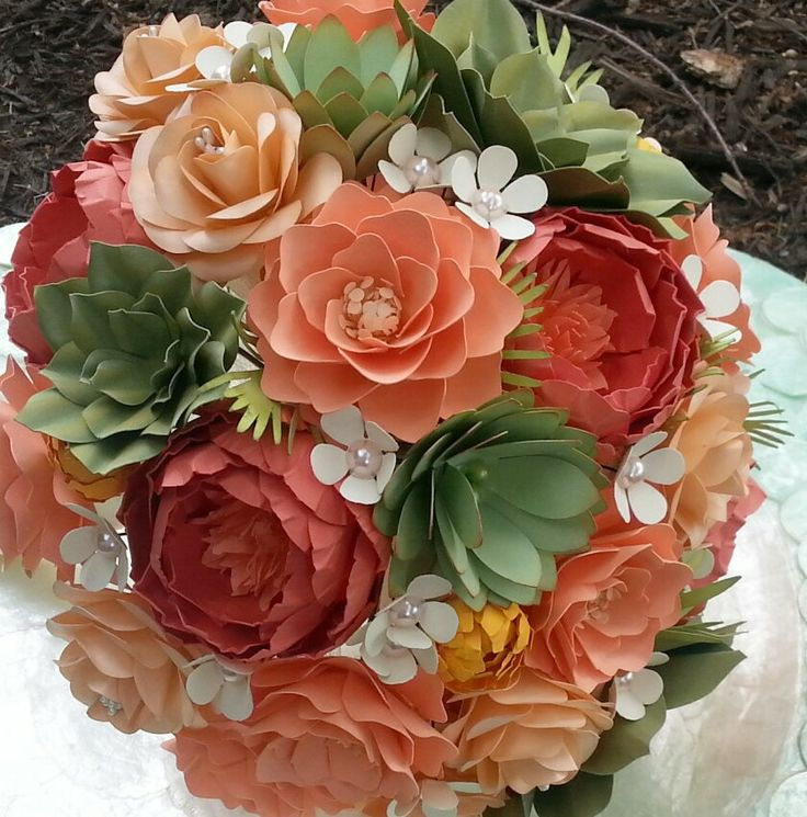 Paper Flower Bouquet - Wedding Bouquet - Shades of Coral and Succulents - Made to Order - Any Color Combo by morepaperthanshoes on Etsy https://www.etsy.com/listing/206940915/paper-flower-bouquet-wedding-bouquet