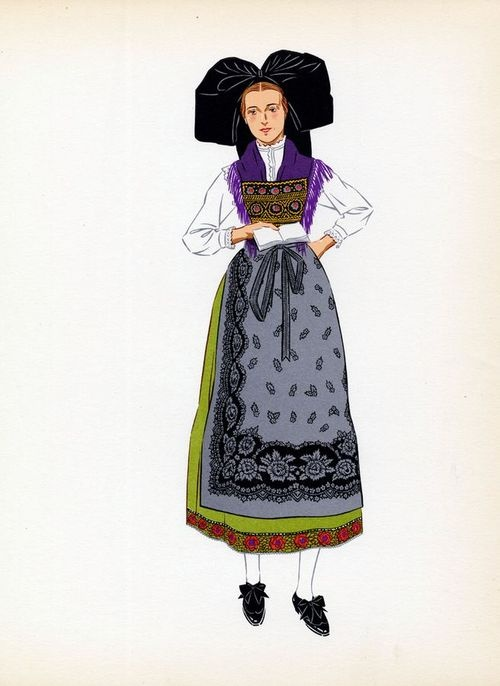 Old time clothing of Alsace, France.