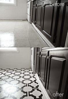 diy painted vinyl floors before and after diy crafts diy rh pinterest com