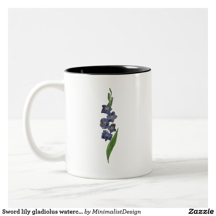 Sword lily gladiolus watercolor painting mug Minimalist mug, flower mug design, sword lily mug, travel mug customizable, mug custom design, gladiolus flower clip art, sword lily art online, sword lily watercolor, purple gladiolus watercolor, gladiolus watercolor paintings, Copyright © 2017, Anca Ioviţă #zazzle #minimalism
