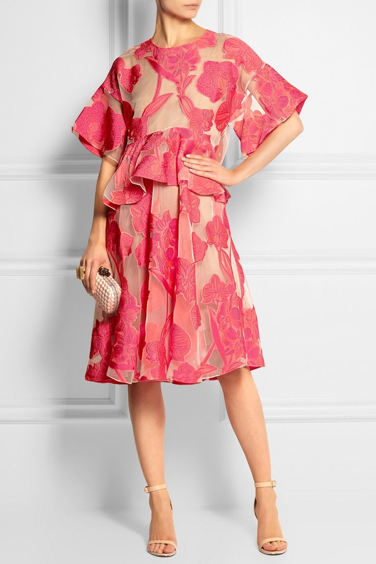 Biyan Aura embroidered organza dress £1,660 | Bottega Veneta The Knot watersnake-trimmed intrecciato satin clutch £1,070 | Givenchy Nadia sandals in neutral leather £510