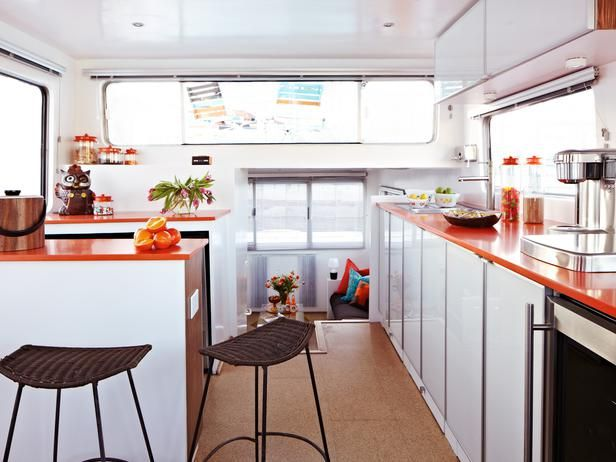 Orange Silestone countertops. Retro-Style Houseboat : Decorating : Home & Garden Television