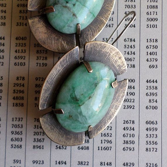 Chrysocolla & Brass Medieval Cross Earrings, Blue Green Stone Modern Contemporary Urban Old World Metalsmith Bold Artisan Statement Earrings on Etsy, $70.00