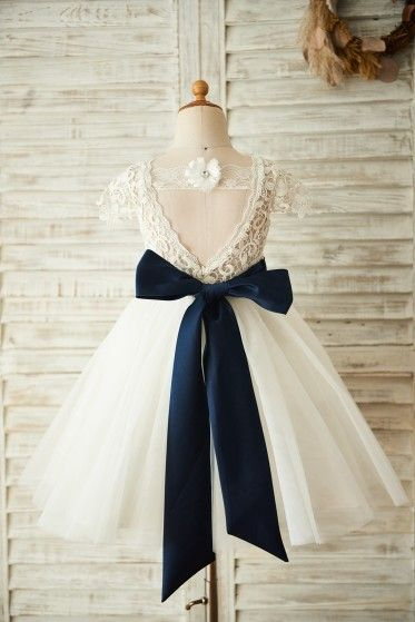 546b6f994f0 Short Sleeves V Back Lace Tulle Wedding Flower Girl Dress with Navy Blue  Belt