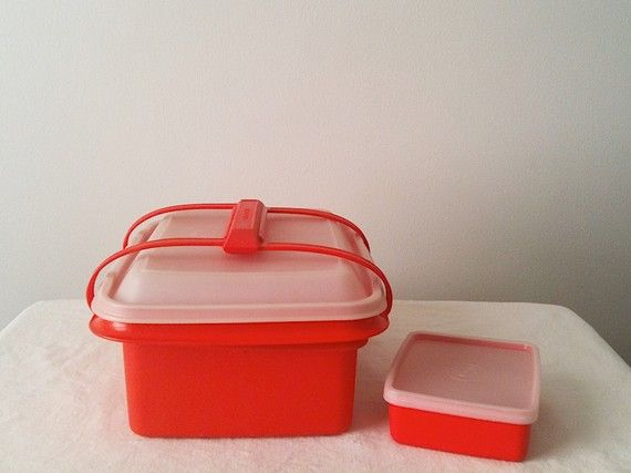 Vintage Orange Tupperware Lunch Box with Carrying by inmyigloo