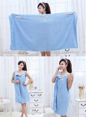 Women-Kids-Absorbent-Microfiber-Fleece-Shower-Spa-Body-Wrap-Towel-Bathrobe-Z41