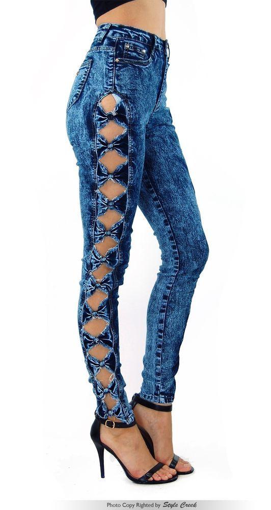 NEW POPULAR Women's Acid Wash High Waist Cute Side Bow Jeans Pants 10718 #StyleCreek #SlimSkinny