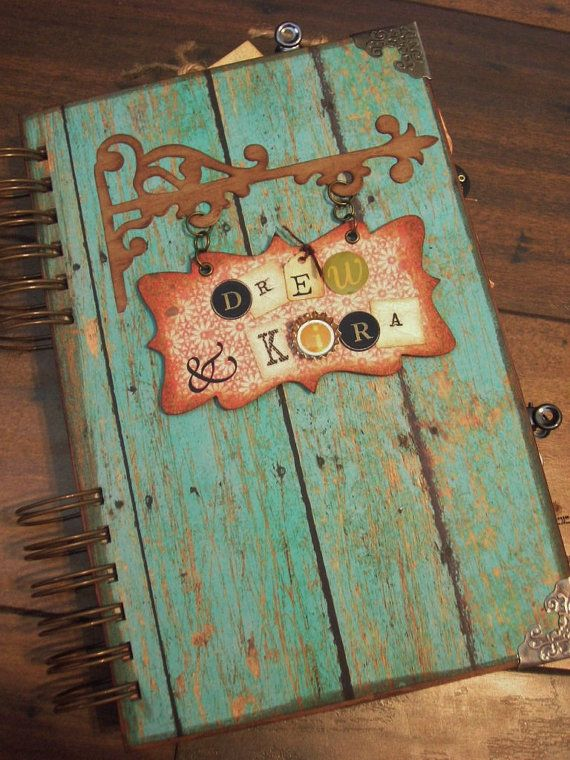 Private Listing for Theresa Wedding Guest Book Engagement Photo Album Vintage Style Beach Scrapbook. $75.00, via Etsy.