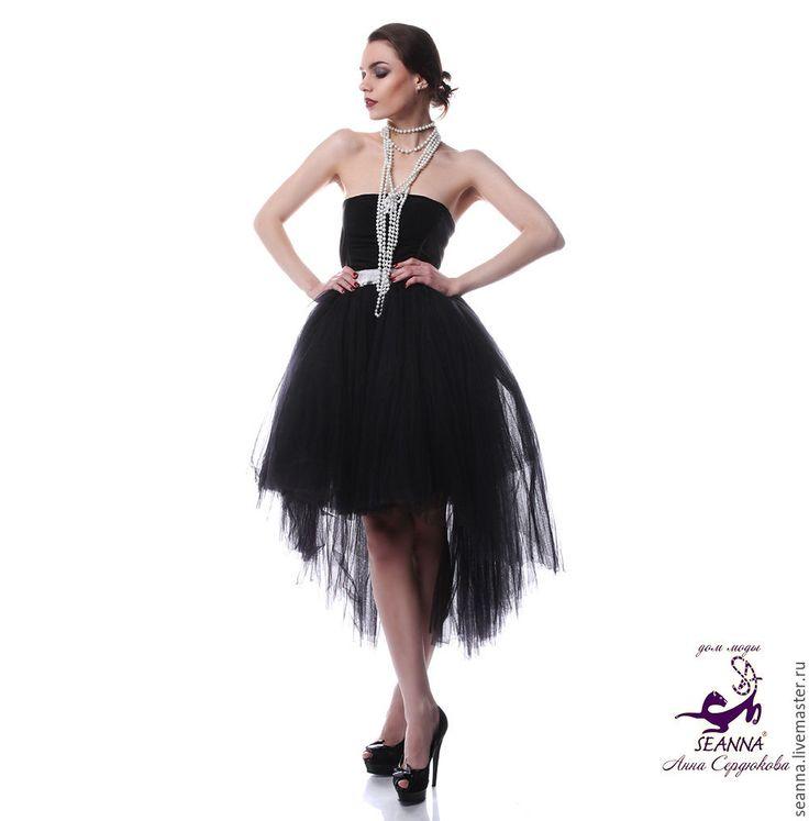 """Купить Роскошная юбка на серебряной резинке на 3-4 размера """"Черный Лебедь"""" - юбка пачка"""