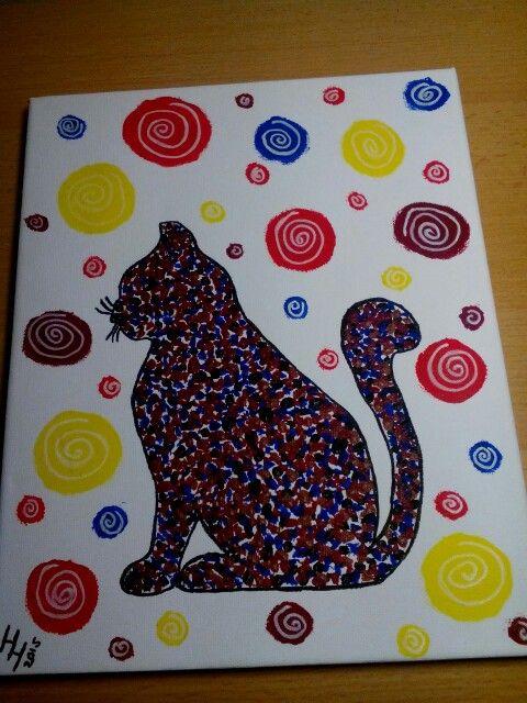 Mňoukalka... kočka technikou pointilismus-zentangle