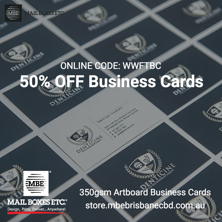 18 best promotions images on pinterest business cards campaign get an amazing 50 off 350gsm business card until 30092017 when you order online with mail boxes etc printed in australia includes nationwide reheart Gallery