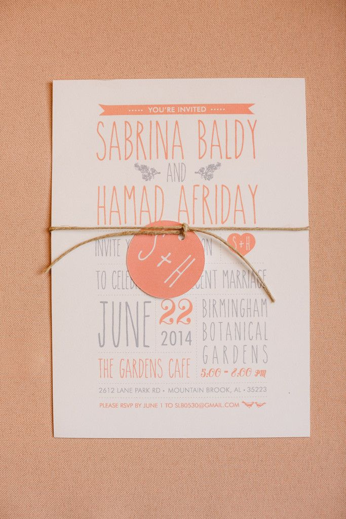 templates for wedding card design%0A A peach and gray wedding invitation featuring modern typography and a  monogrammed tag  Venue