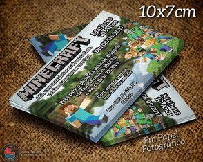 Convite Minecraft Personalizado 10x7cm