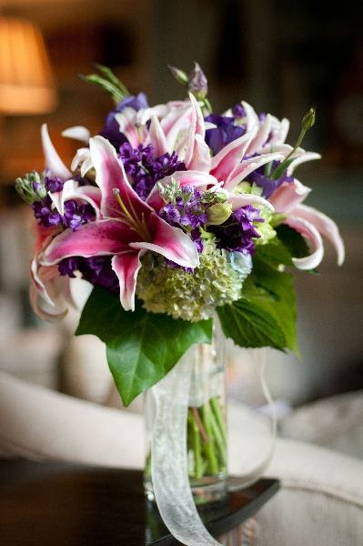 #Stargazer lilies and dark purple stock bridal bouquet.  – {Bridal Bouquets}