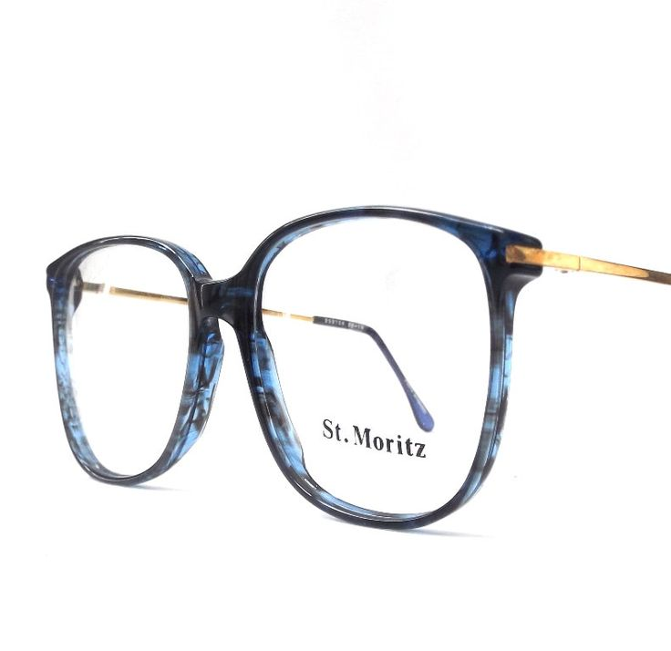 vintage 1980's NOS eyeglasses oversized round blue marble plastic frames gold metal arms prescription mens womens modern eye glasses eyewear by RecycleBuyVintage on Etsy