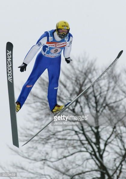 Tami Kiuru of Team Finland takes to the air during the FIS Ski Flying World Cup on February 22 2004 in Plancia Slovenia