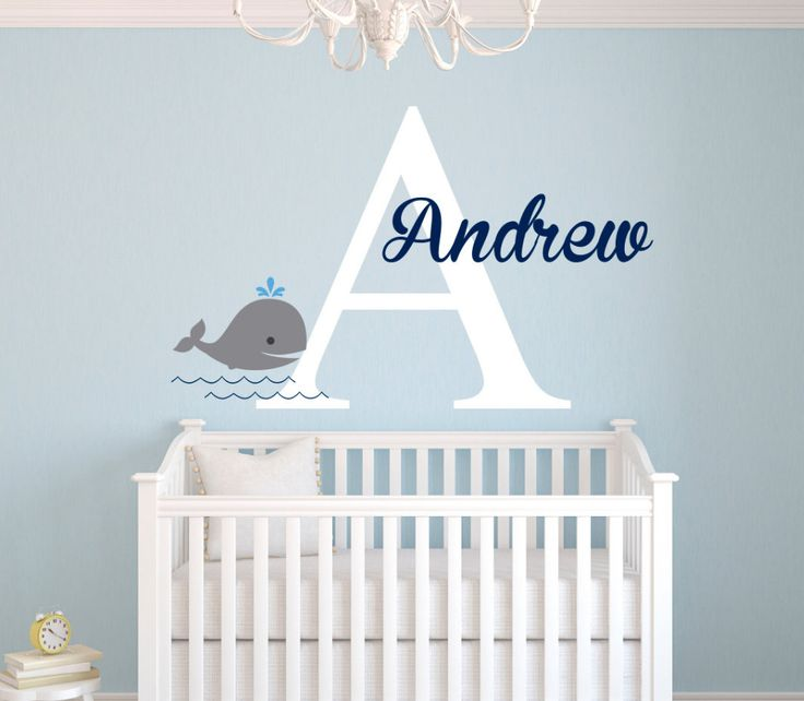 Personalized Name Wall Decal Whale Stickers For Kids Room S Customize Diy Baby Art Mural Décor Aliexpress