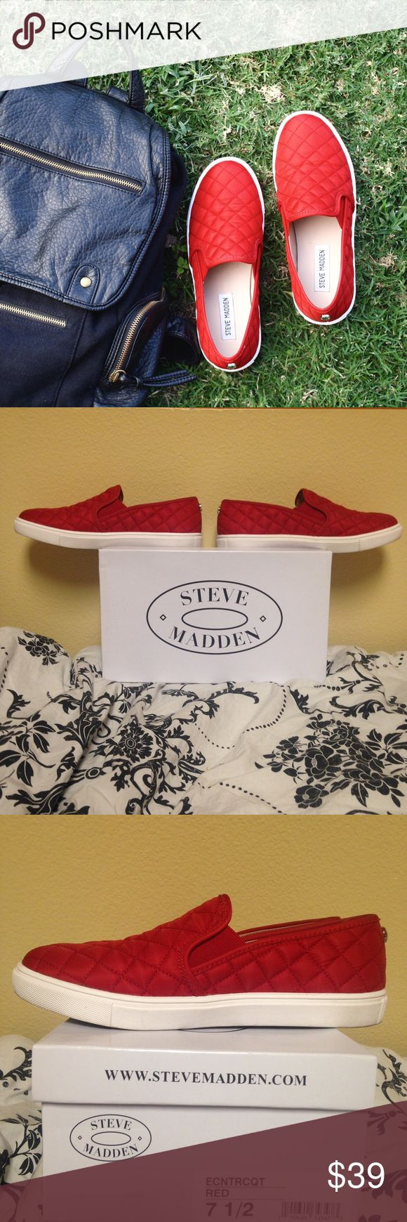 Steve Madden Slip On Sneakers New women's red Steve Madden slip on sneakers with Steve Madden shoe box included. US Size 7.5. These are sold out in online stores. Steve Madden Shoes Sneakers