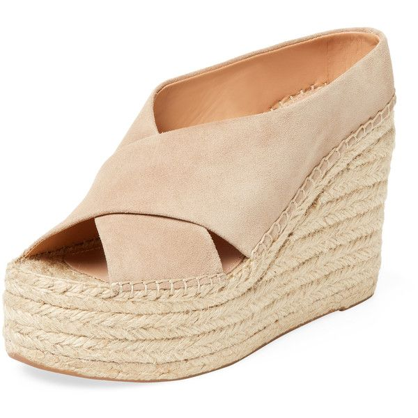 Sigerson Morrison Women's Atifa Suede Espadrille Wedge - Cream/Tan,... ($179) ❤ liked on Polyvore featuring shoes, sandals, multi, woven wedge sandals, suede wedge sandals, tan platform sandals, tan wedge sandals and wedge sandals