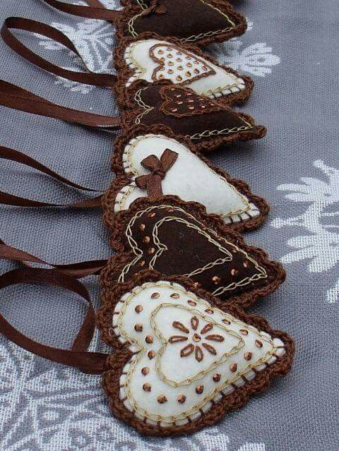 Embroidered, beaded felt hearts with crochet edging