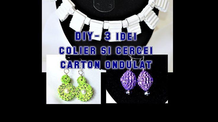 DIY-3 idei de bijuterii - colier si cercei din carton ondulat