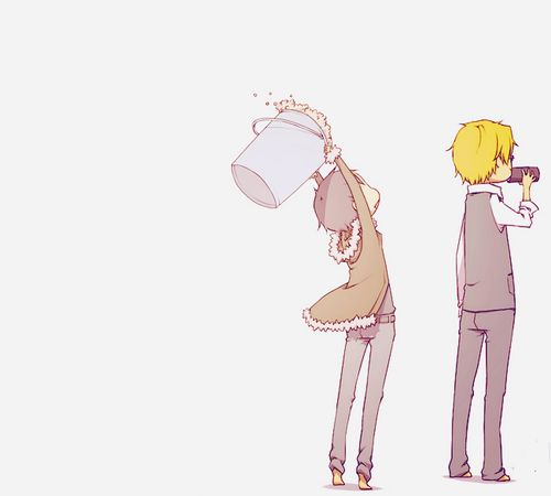 """I nominate Shizu-chan for the ice bucket challenge!"" Shizuo x Izaya. Durarara!!"
