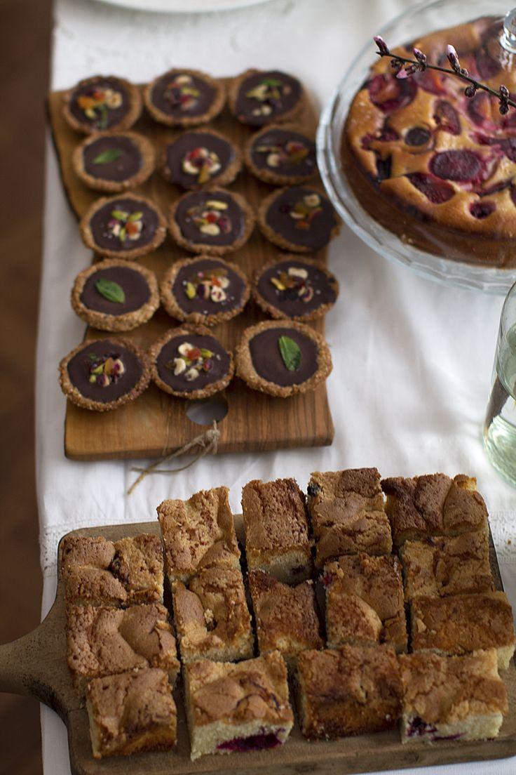 Vegan chocolate mini tarts and gluten free yoghurt cake