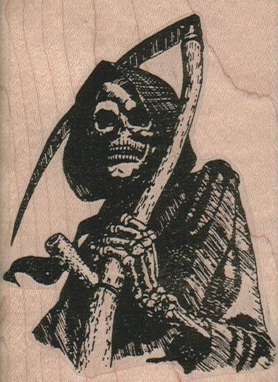 Rubber stamp Halloween grim reaper skeleton bones  wood Mounted  scrapbooking supplies number10375