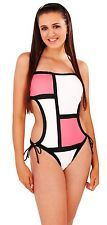 Womens Cut Out Swimming Costume Halter Neck / Bandeau Monokini Ladies Size 8-14