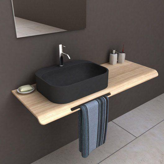 Vasque A Poser Resine De Synthese L 50 X P 37 Cm Noir Pal Bathroom Sink Cabinetsplywoodcenterpiecesbathdo