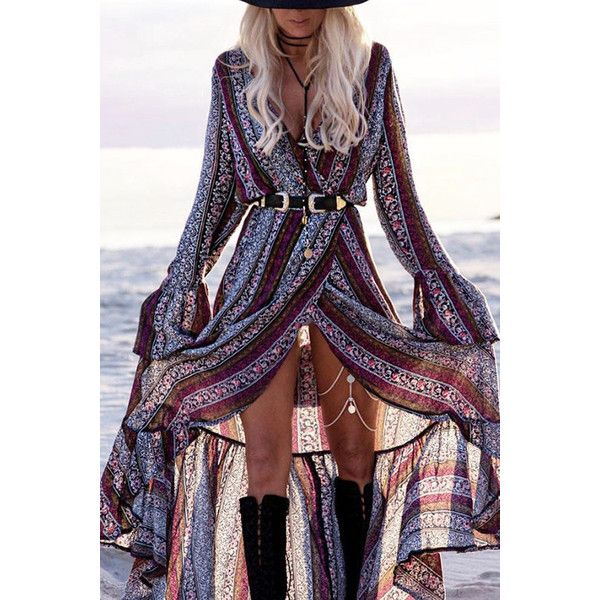 Yoins Bohemia Tribe Pattern Long Sleeves Self-tie at Waist Maxi Dress (378.190 IDR) ❤ liked on Polyvore featuring dresses, black, tribal print maxi dress, long sleeve print dress, tribal dress, v-neck dresses and long-sleeve maxi dresses