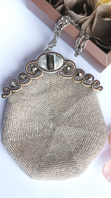 Handbag bag Evening crochet beaded soutache by Bigiotteriapoliova