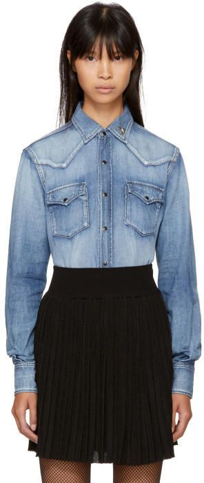 Saint Laurent Blue Denim Western Heart-Studded Shirt