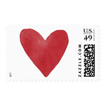 Subtle Red Watercolor Heart 14 Valentine & Wedding Postage - romantic wedding gifts wedding anniversary marriage party