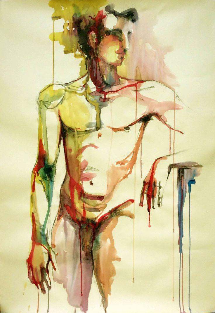 """Cristina Carturan  """"Paolo"""" Ecoline - 70x100 cm  Ci sono tante cose della vita che non capisco. Incontri migliaia di persone e nessuna ti colpisce veramente. Poi incontri una persona. E la tua vita cambia. Per sempre. (Cit)"""