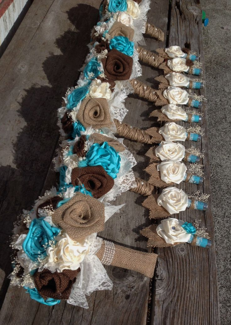 Handmade bridal bouquets with natural and chocolate brown burlap and tiffany blue silk flowers by BurlapandLacePlace on Etsy https://www.etsy.com/listing/213134581/handmade-bridal-bouquets-with-natural