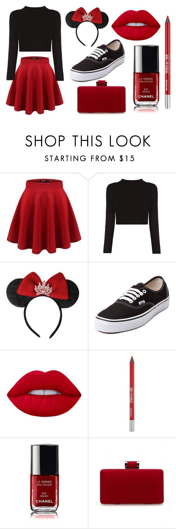 """Modern Minnie Mouse"" by lauren53103 on Polyvore featuring Disney, Vans, Lime Crime, Urban Decay, modern, Costume and minniemouse"