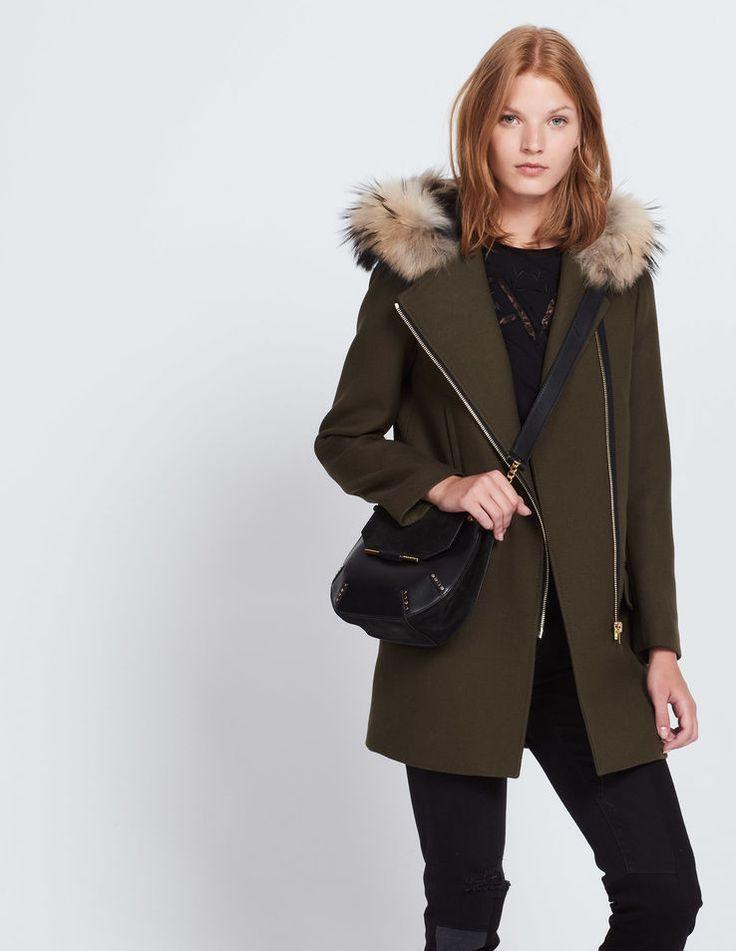 Manteau en laine capuche en fourrure - Manteaux - Sandro Paris