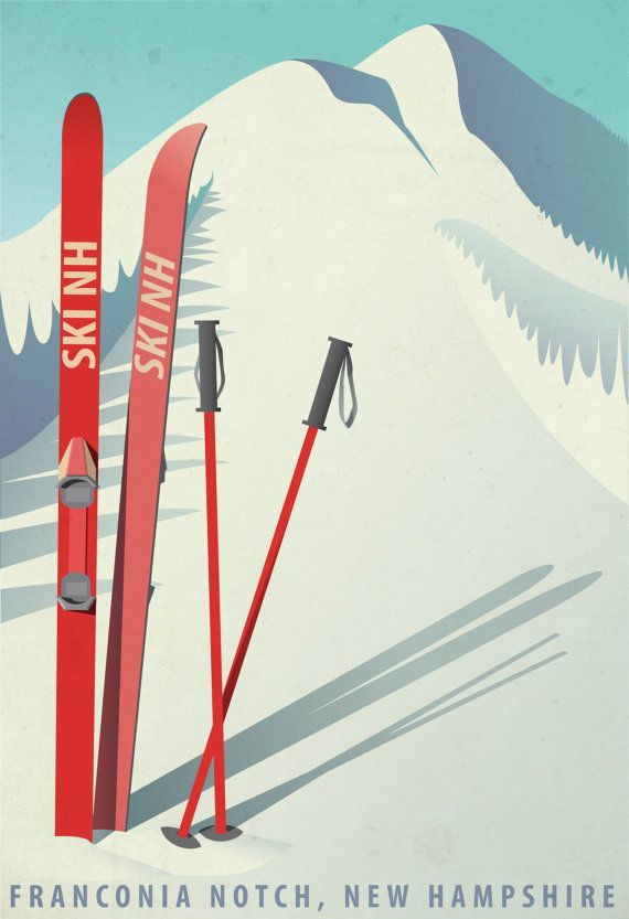 vintage style ski New Hampshire print. would like to customize to say Loon Mountain, New Hampshire.
