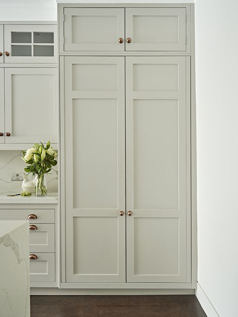 Closed Grey Kitchen Pantry Cupboard Shaker Style Cabinet Hand Painted In French By Little Greene Paint Company
