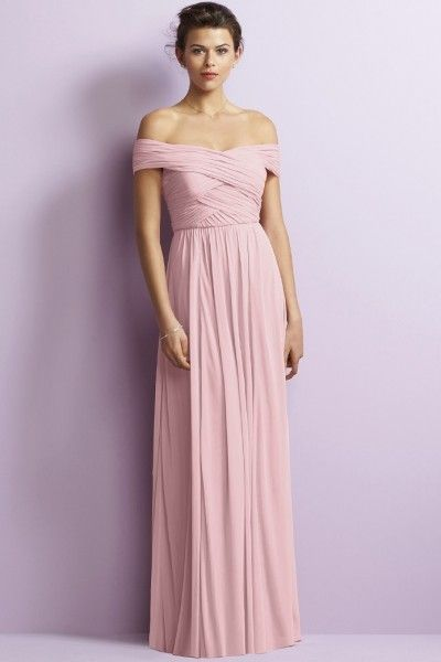 Fancy Short Sleeve Ruched Chiffon Floor-length A-line Off-the-shoulder Long Bridesmaid Dresses
