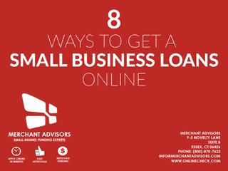 8 Ways To Get A Small Business Loan Online  Small businesses can be the lifeline of our economic system, however many small businesses consider the lending process as difficult and exasperating. Frequently, growing businesses find themselves shut out when they try to get small business loans. Theoretically, it should be complicated to get funding – lenders are in the business of making money, not offering donations. Still, there are lots of ways to improve your chances of getting a loan…