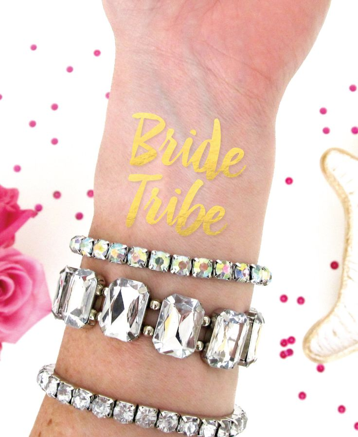 Bride Tribe Tattoo. Bachelorette Party Favor. Gold Foil Temporary Tattoo at Pretty Chic SF on ETSY