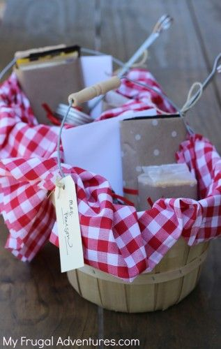 Smores Gift basket-- easy summer hostess gift or save this for teacher gifts next year! So cute and so easy!