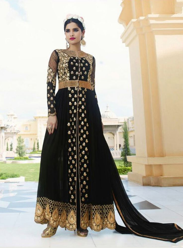 Black Georgette Designer Anarkali Suit 80033