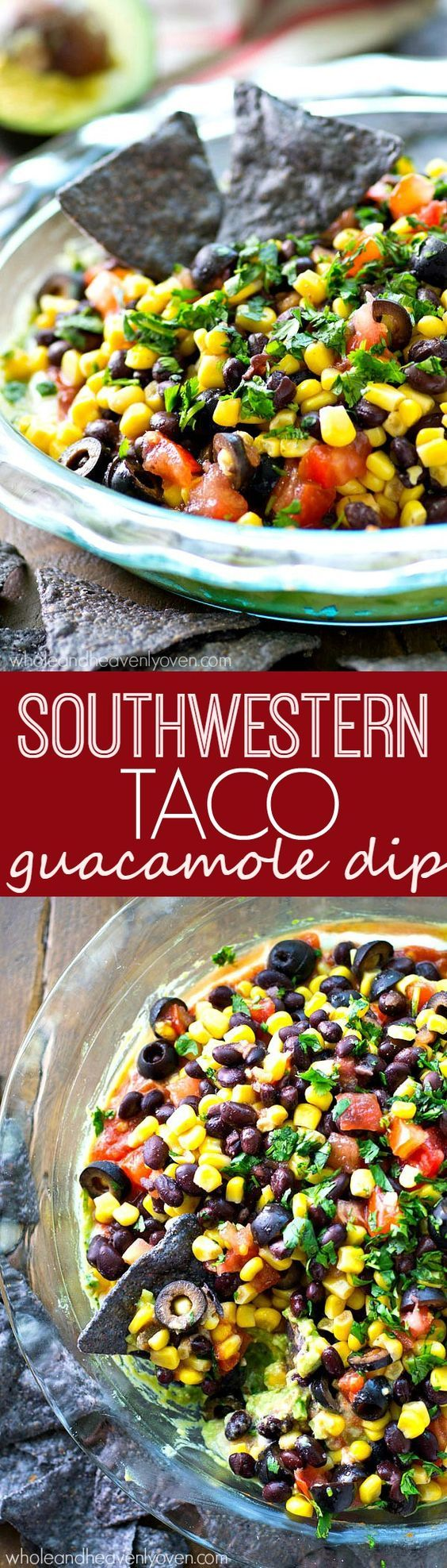 This colorful Southwestern-style taco dip will be the biggest hit of your party.---So many layers of homemade guacamole and all your favorite taco toppings!