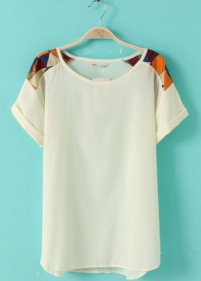 White Short Sleeve Geometric Print Shoulder Chiffon T-Shirt