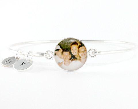 DLK Designs, LLC - Personalized Gift for Mom Monogrammed Photo Bangle Bracelet